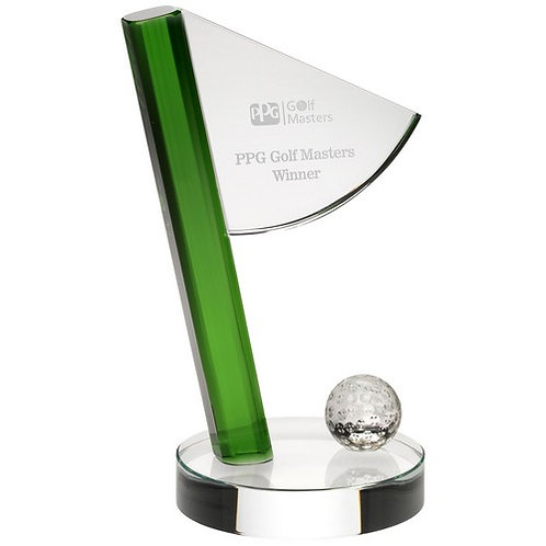 Clear/Green Glass Golf Flag And Ball Award - 210 mm