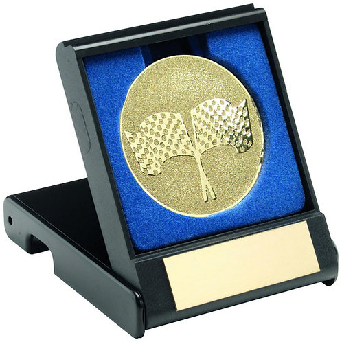 Black Plastic Box With Crossed Flags Insert Gold - 89 mm