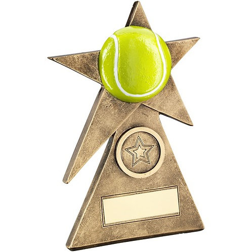 Brz/Gold/Yellow Tennis Star On Pyramid Base Trophy - 152 mm