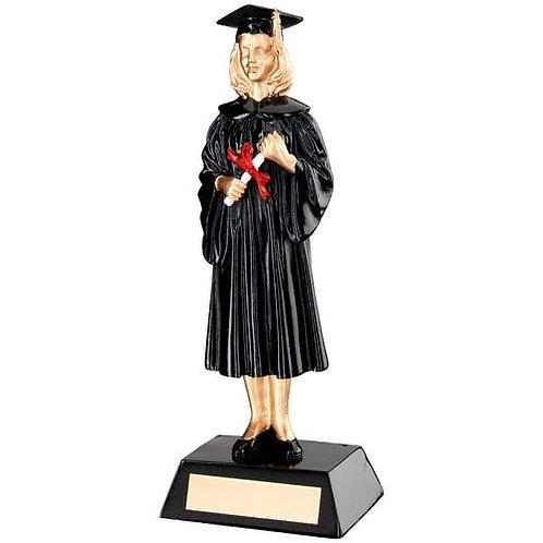 Black/Gold Resin Female Graduate Trophy - 235 mm