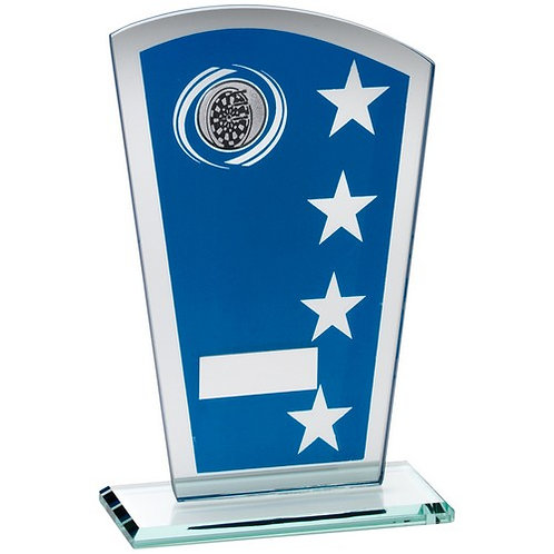 Blue/Silver Printed Glass Shield With Darts Insert Trophy - 203 mm