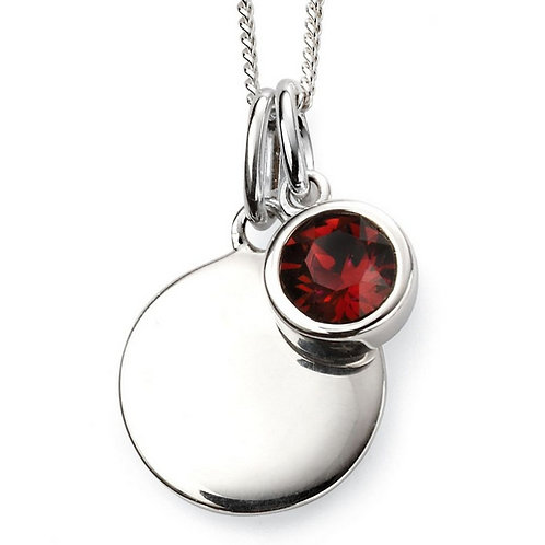 January Birthstone Pendant with engraved pendant