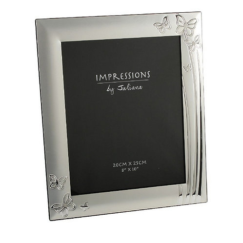2 Tone Silverplated Photo Frame Butterfly Design | 6 x 8  | Free Engraving