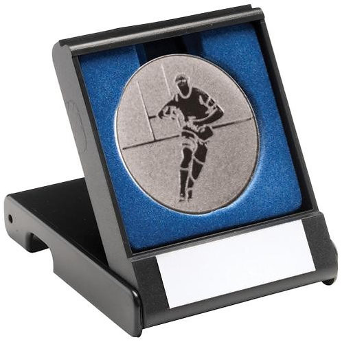 Black Plastic Box With Rugby Insert Trophy Silver - 89 mm
