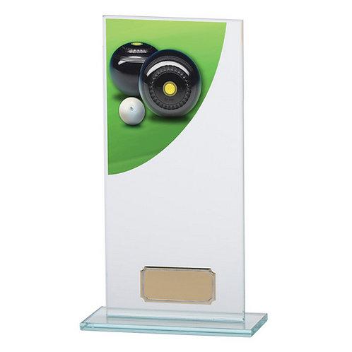 Colour Curve Lawn Bowls Jade Glass Award - 200mm