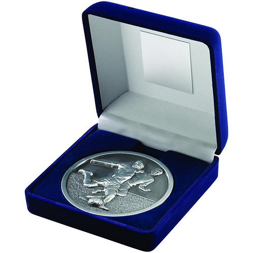 Blue Velvet Box And 70mm Medallion Football Trophy Antique Silver - 102 mm