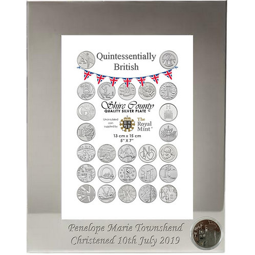 Photo Frame with British Coin | Post Box | Letter P | Free Engraving