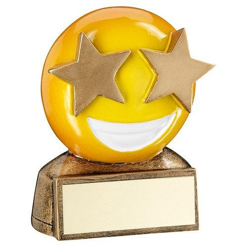 Brz/Yellow 'Star Eyes Emoji' Figure Trophy - 70 mm