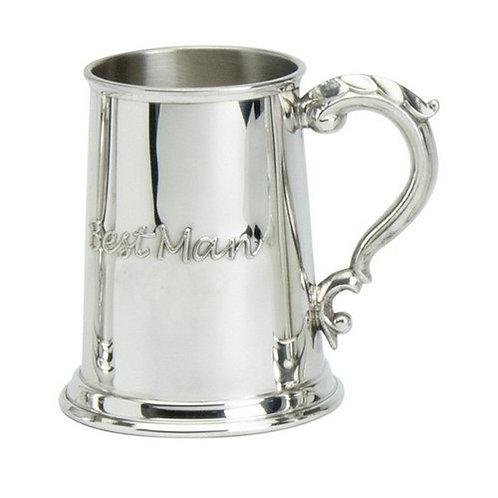 Tankard | 1 Pint | Best Man... | Sheffield Pewter  | Free Engraving