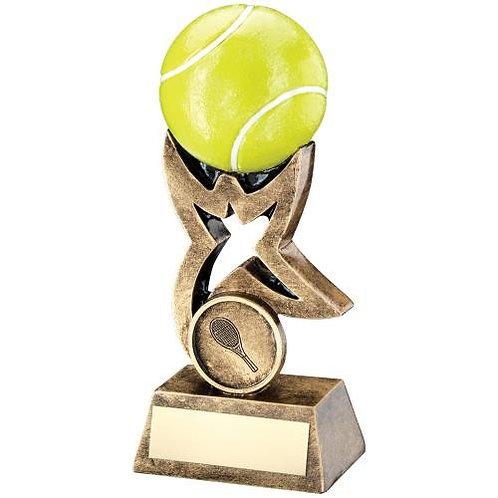 Brz/Gold/Yellow Tennis Ball On Star Riser Trophy - 178 mm