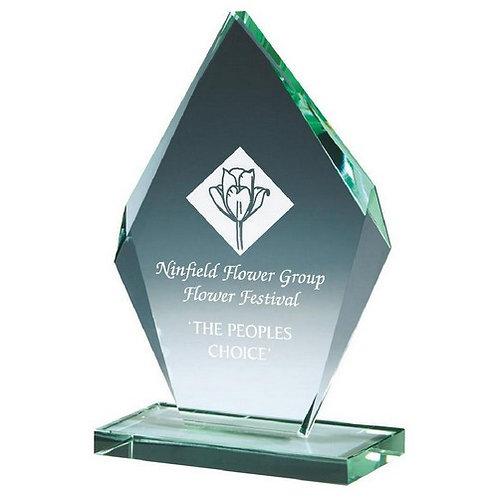 Bevelled Jade Glass Diamond Stand - 165mm