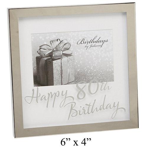 "Photoframe | 80th Birthday |  6 x 4"" | Mirror Print | Free Engraving"
