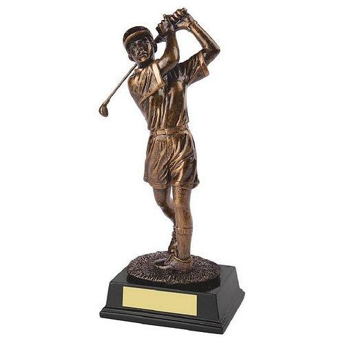 Antique Gold Resin Female Golfer  - 260mm