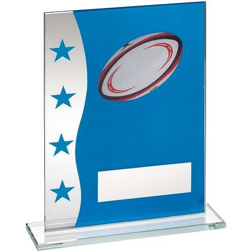 Blue/Silver Printed Glass Plaque With Rugby Ball Image Trophy - 184 mm
