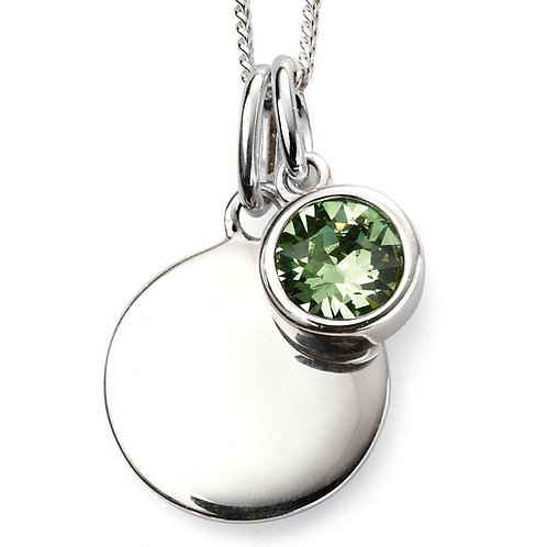 August Birthstone Pendant with engraved pendant