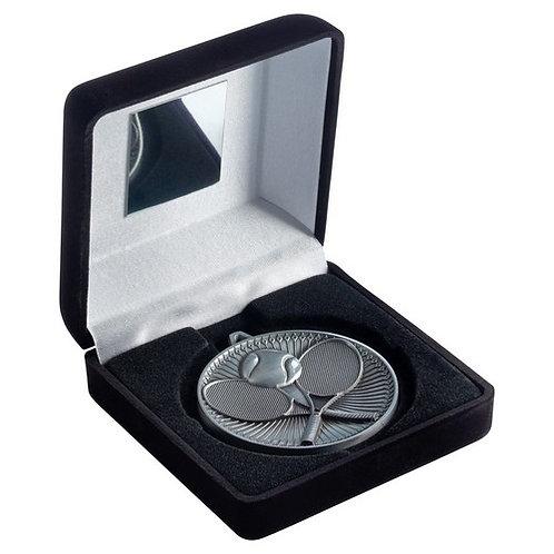 Black Velvet Box And 60mm Medal Tennis Trophy Antique Silver - 102 mm