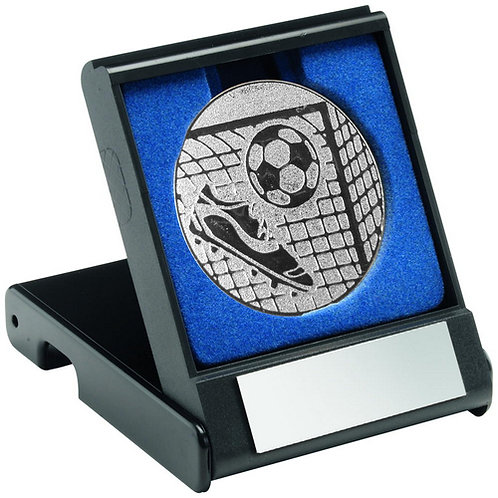 Black Plastic Box With Football Insert Trophy Silver - 89 mm