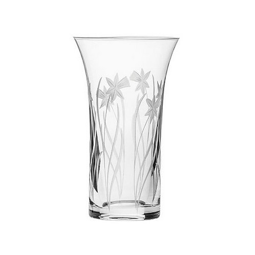 Royal Scot Crystal | Daffodils | Flared Vase | 200mm| Free Engraving
