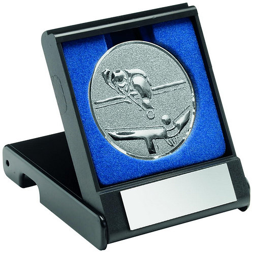 Black Plastic Box With Pool/Snooker Insert Trophy Silver - 89 mm