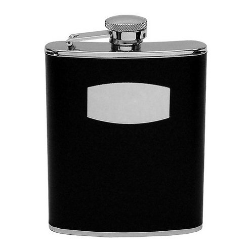 Hip Flask | Stainless Steel and Black Leather | 6oz | Free Engraving