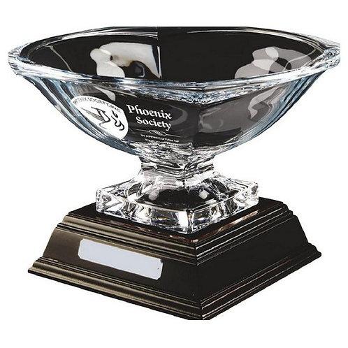 Bohemia Crystalite Bowl Award on Wood Stand - 230mm