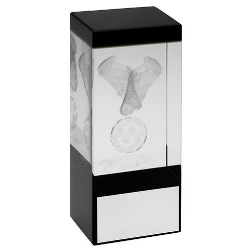 Clear/Black Glass Block With Lasered Football Image Trophy - 102 mm