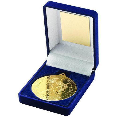 Blue Velvet Box And 50mm Medal Hockey Trophy Gold - 89 mm