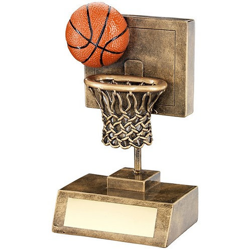 Basketball And Net With Backboard Trophy - 152 mm