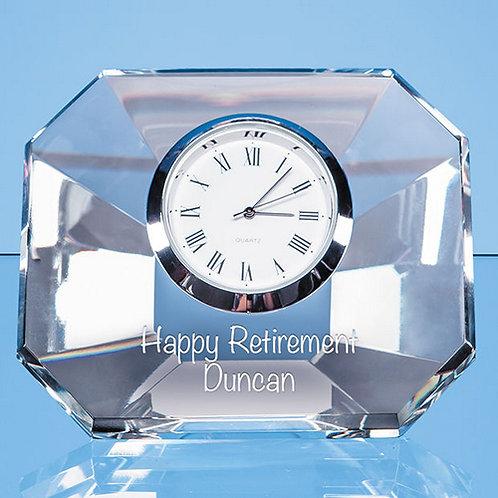Optical Cystal Wedge Clock | 85mm | Free Engraving