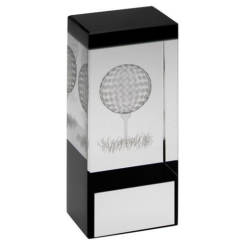 Clear/Black Glass Block With Lasered Golf Image Trophy - 102 mm