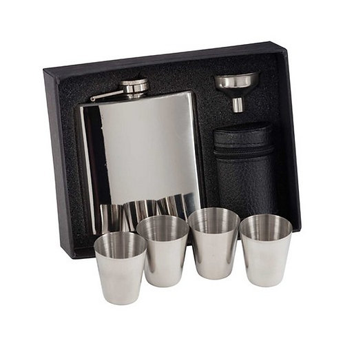 Aintree Polished Steel Flask & Cups | 6oz | Free Engraving