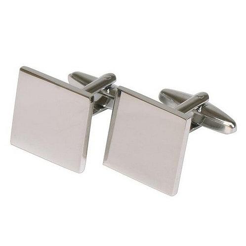 Cufflinks | Plain Square | Rhodium Plate  | Free Engraving