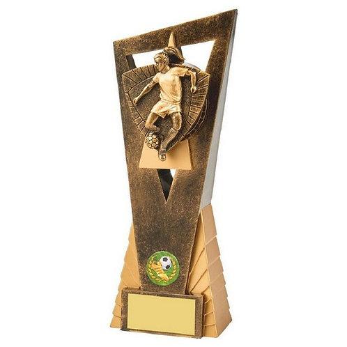 Antique Gold Female Footballer Edge Trophy - 230mm