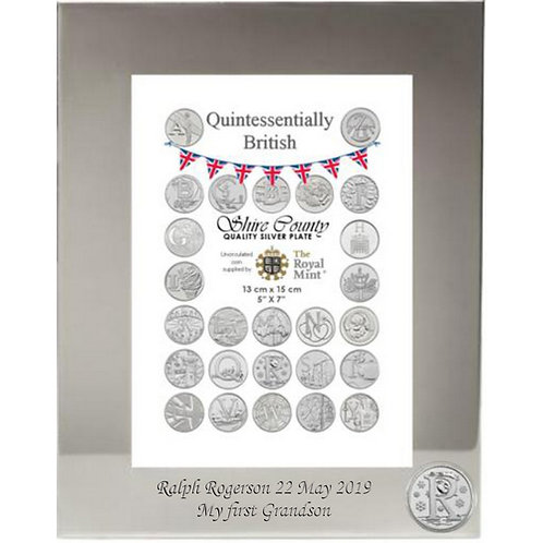 Photo Frame with British Coin | Robin | Letter R | Free Engraving