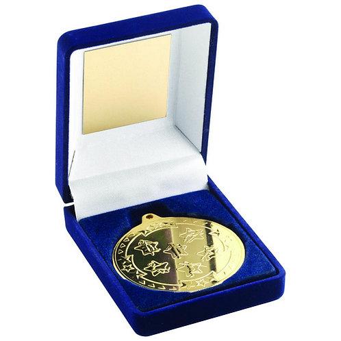 Blue Velvet Box And 50mm Medal Multi Athletics Trophy Gold - 89 mm