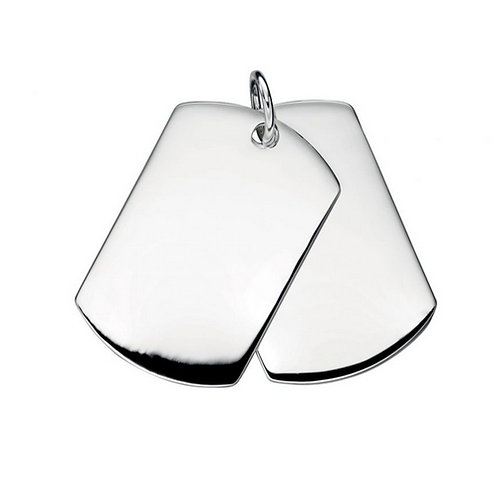 Chunky solid silver 'dog tags' pendant | Excludes chain