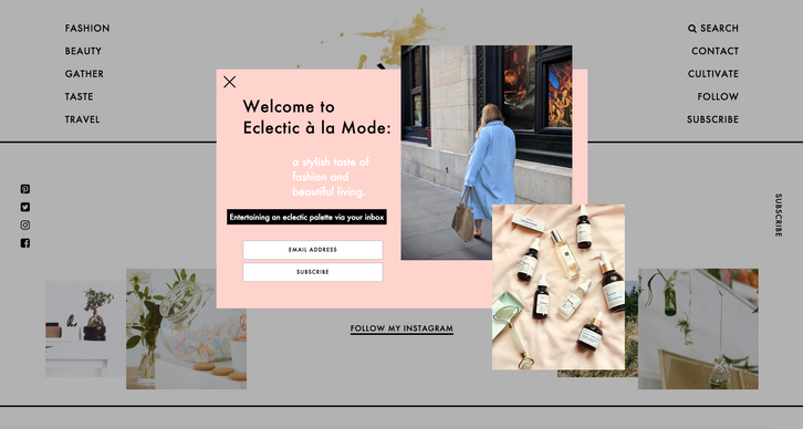 Eclectic à la Mode (personal blog) Redesign Direction eclecticalamode.com