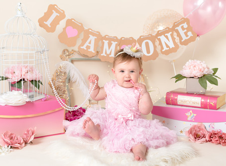 Pink and Gold Cake Smash theme | Moncton baby photographer