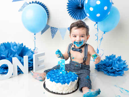 Cake Smash Session in Blue | Moncton Baby Photographer