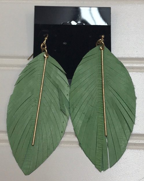 Green Feather Earrings with Gold Bar