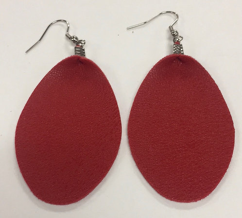 Red Vegan Leather Earrings