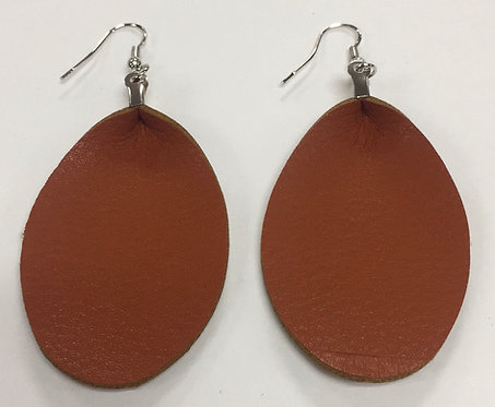 Brown Vegan Leather Earrings