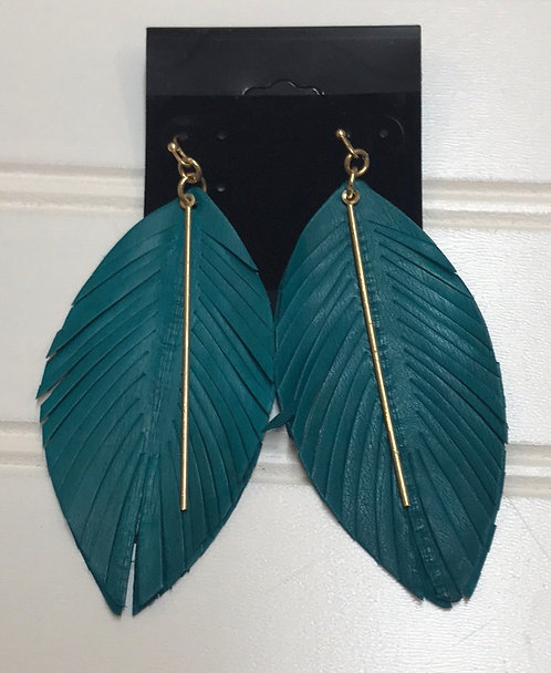 Teal Feather Earrings with Gold Bar