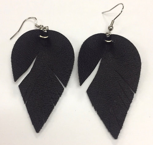 Black Vegan Leather Earrings