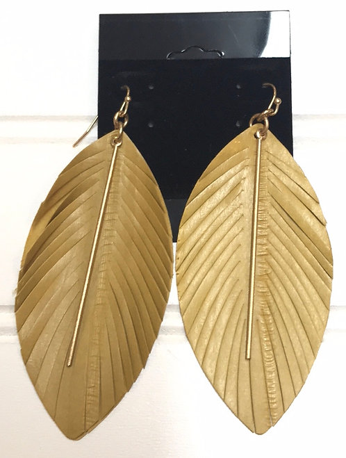 Yellow Feather Earrings with Gold Bar