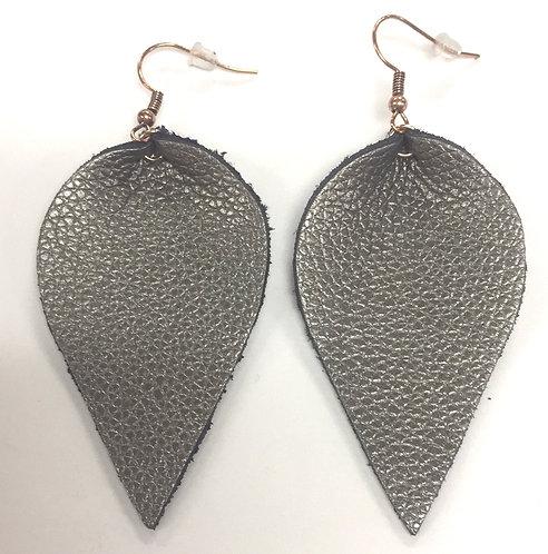 Gunmetal Leather Earrings