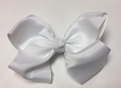 Large White Hair Bow 7""