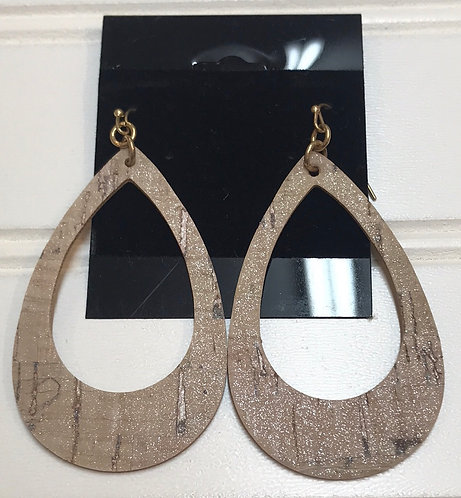 Tan Glitter Hollow Teardrop Earrings