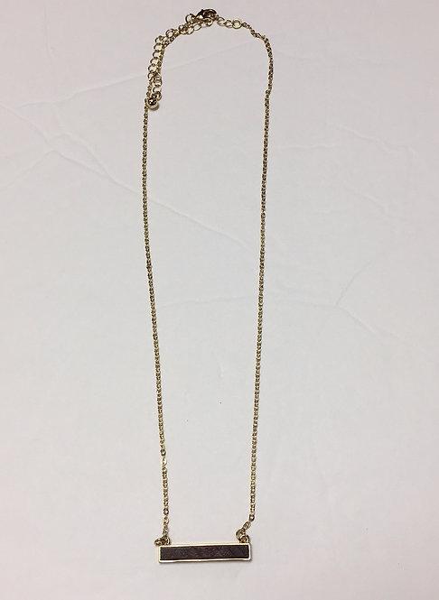 Short Wood Bar Necklace