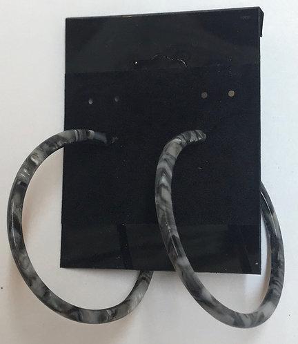Blue Marble Acrylic Hoop Earrings